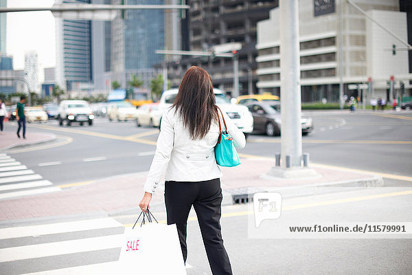 Rear view of woman with shopping bags strolling along street  Dubai  United Arab Emirates