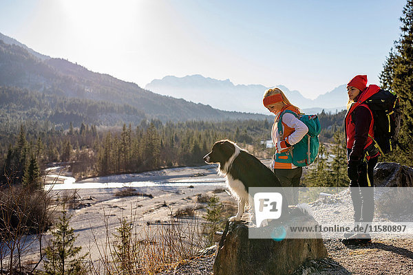 Two female hikers and dog looking out over valley in Bavarian Alps
