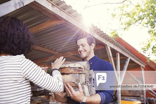 Rückansicht der Frau  die dem lächelnden männlichen Freund an einem sonnigen Tag Baumstämme schenkt.