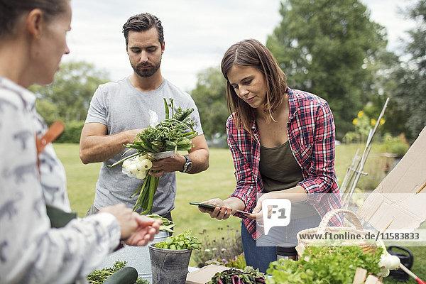 Frau erhält Handyzahlung von Kundin auf dem Gemüsemarkt