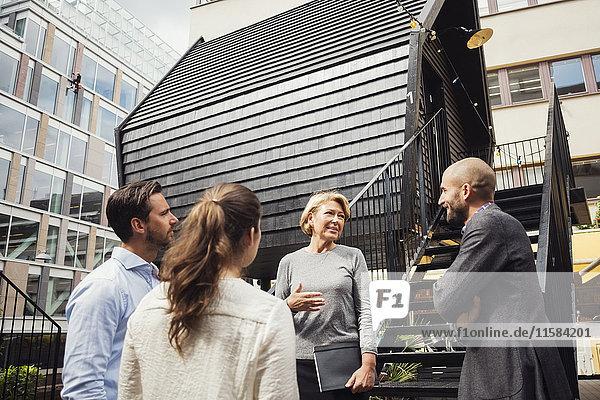 Geschäftskollegen diskutieren außerhalb des Blockhauses auf dem Bürohof