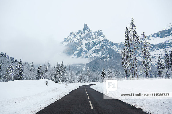 Empty road ÊGrand Massif  French Alps