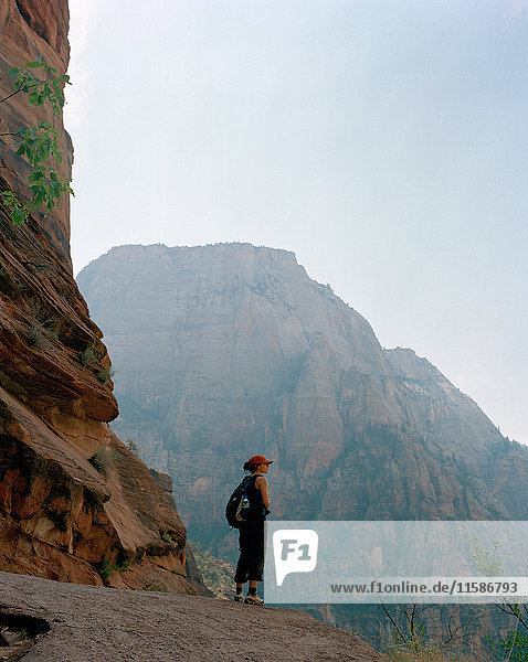 Woman at mountain overlook  Zion National Park  Utah