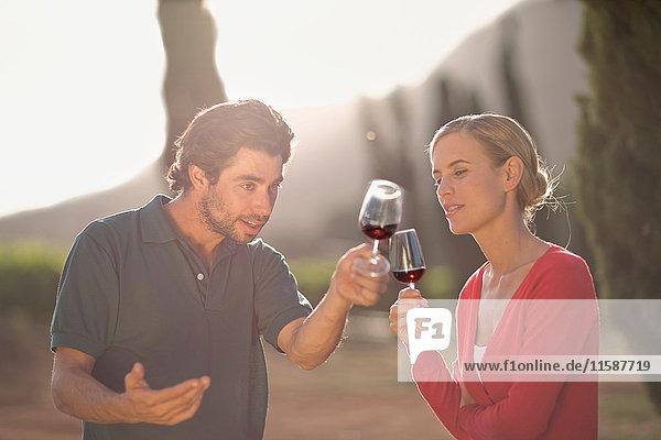 Menschen  die Rotwein probieren