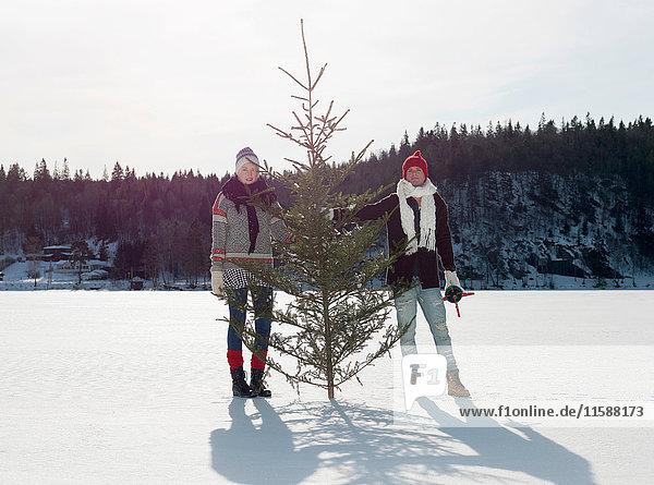 Paar mit Weihnachtsbaum