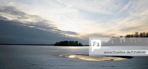Sunset over melting Ice
