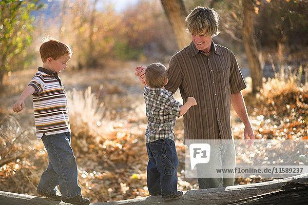 Vater spielt mit jungen Söhnen auf einem Baumstamm