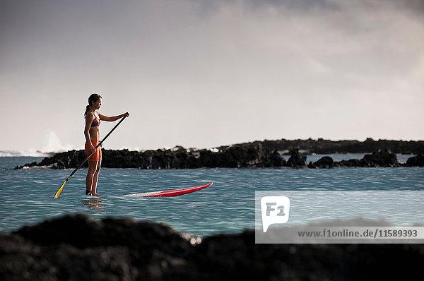 Surfer paddeln auf dem Surfbrett im Ozean