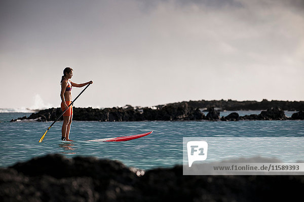 Surfer paddling surfboard in ocean