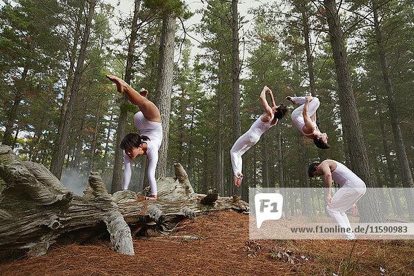 Tänzer springen im Wald