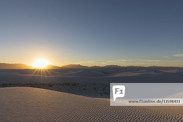 USA  New Mexico  Chihuahua-Wüste  White Sands National Monument  Landschaft bei Sonnenaufgang