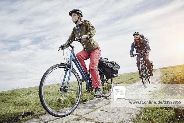 Deutschland  Schleswig-Holstein  Eiderstedt  Paar Radfahren durch Salzwiesen