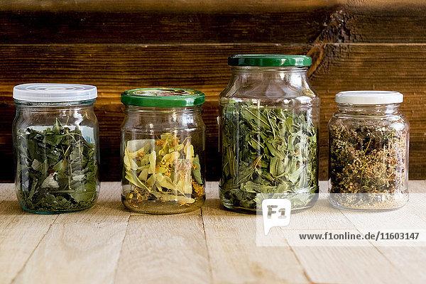 Row of jars of tea leaves