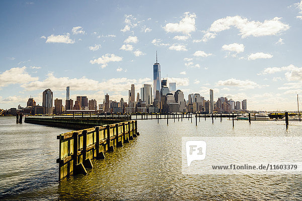 City skyline at waterfront  New York  New York  United States