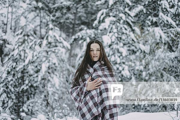 Portrait of Caucasian woman in snowy forest, Portrait of Caucasian woman in snowy forest