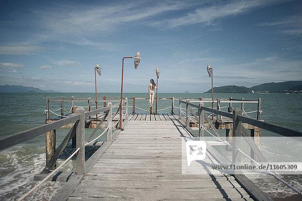 Caucasian woman wearing bikini standing on railing on dock Caucasian woman wearing bikini standing on railing on dock