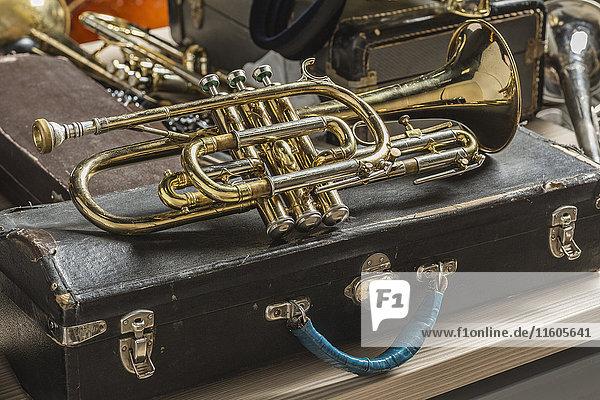 Hochwinkelansicht der goldenen Trompete auf dem Rumpf