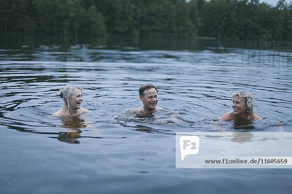 Glückliche Freunde genießen im See