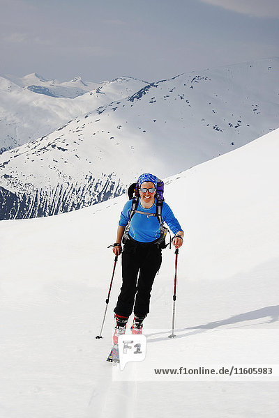 Woman skiing in winter landscape