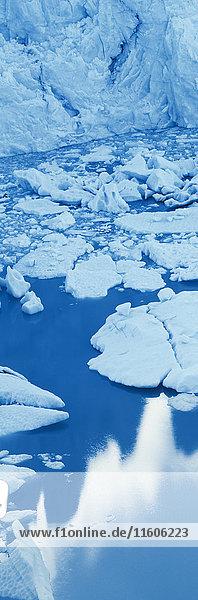 High angle view of glacier in lagoon  Perito Moreno Glacier  Patagonia  Argentina