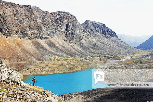 Blue lake in mountains