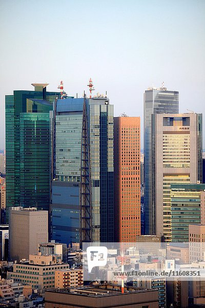 Japan  Tokyo  Shiodome area  skyline  aerial view .