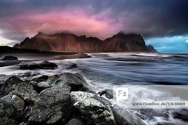 Landscape at sunset  Stokksnes  Eastern Iceland  Europe.