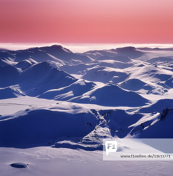 Snow covered landscape  Landmannalaugar  Central Highlands Iceland.