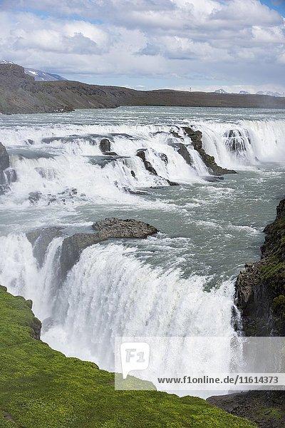 Gullfoss waterfall  Hvita river  Iceland  Europe