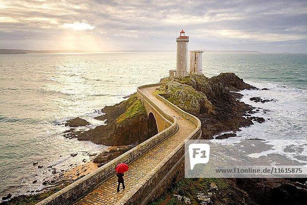 France  Brittany  Finistere  Iroise Sea  Goulet de Brest  Plouzané  Petit Minou lighthouse  Model Released.