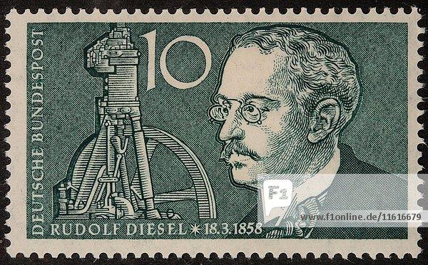 Deutsche Briefmarke  Porträt von deutschem Erfinder und Maschinenbau-Ingenieur Rudolf Diesel