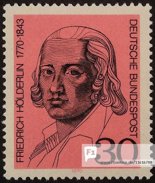 Deutsche Briefmarke  Porträt von deutschem Lyriker Friedrich Hölderlin