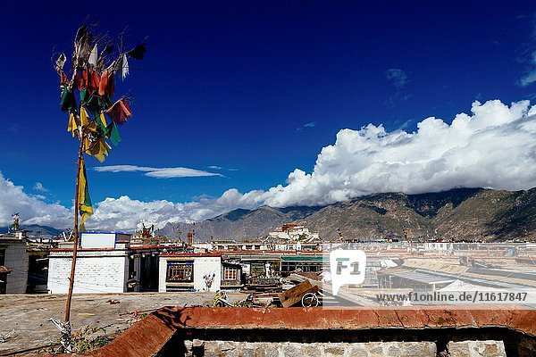 Lhasa  Tibet  China - The view of Potala Palace in the daytime looking from distance.