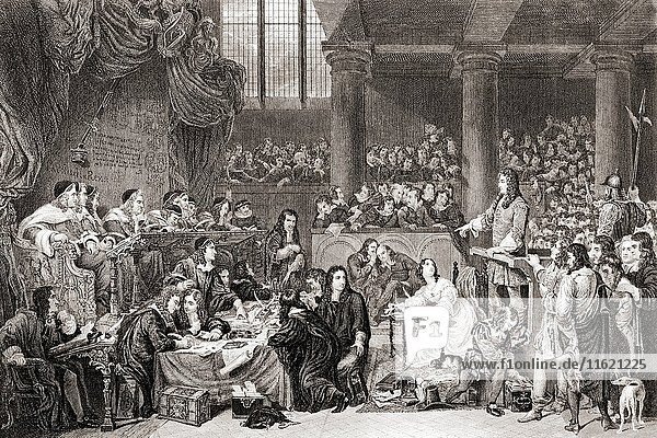 The Trial of Lord William Russell  1683  from 19th century print of painting by Sir George Hayter. William Russell  Lord Russell  1639 to 1683. English politician executed after his alleged involvement in the Rye House Plot to assassinate Charles II.