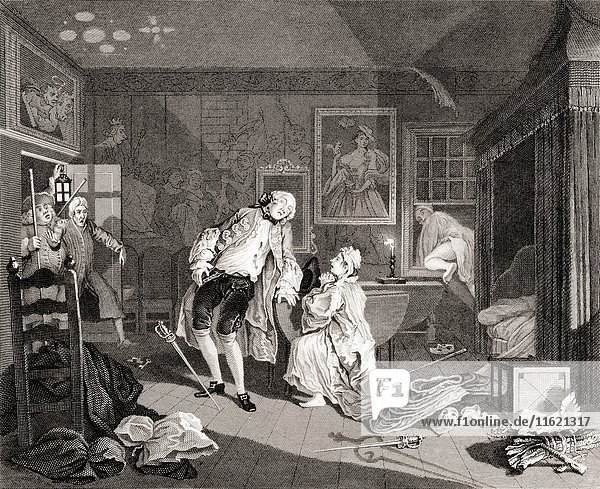 Marriage a la Mode. Death of the Earl. From the original by Hogarth from The Works of Hogarth published London 1833.