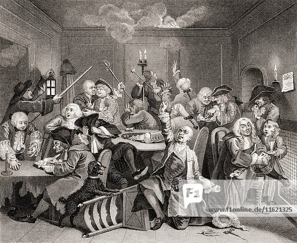 The Rake's Progress. Gaming house scene. From the original picture by Hogarth from The Works of Hogarth published London 1833.