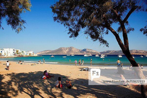 Scene from the main beach in the town center  Koufonissi  Cyclades Islands  Greek Islands  Greece  Europe.