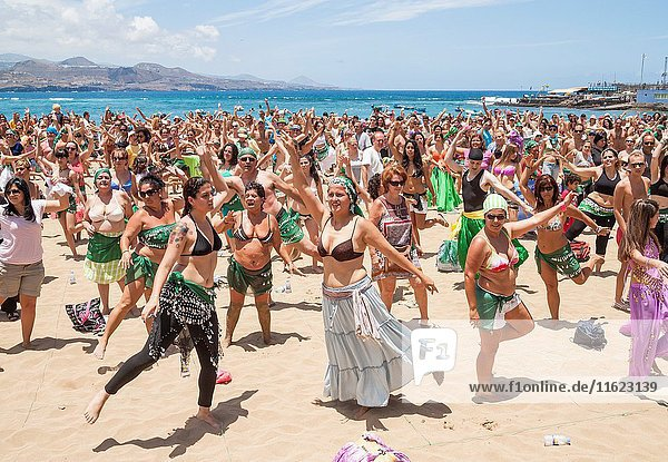 Las Canteras beach  Las Palmas  Gran Canaria  Canary Islands  Spain. Europe. Guinness world record for most people simultaneously Belly Dancing (2011).