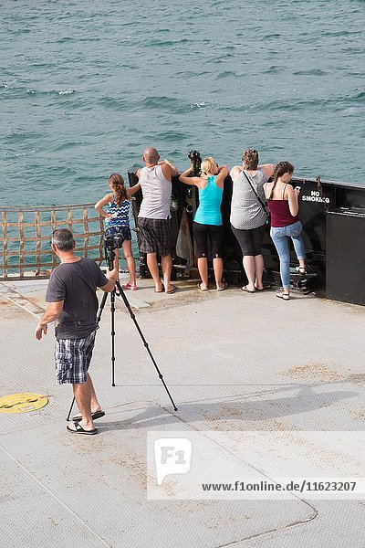 A photographer sets his tripod to take photos of his family that looks at the ocean on the Ferry in the outer banks of North Carolina USA.