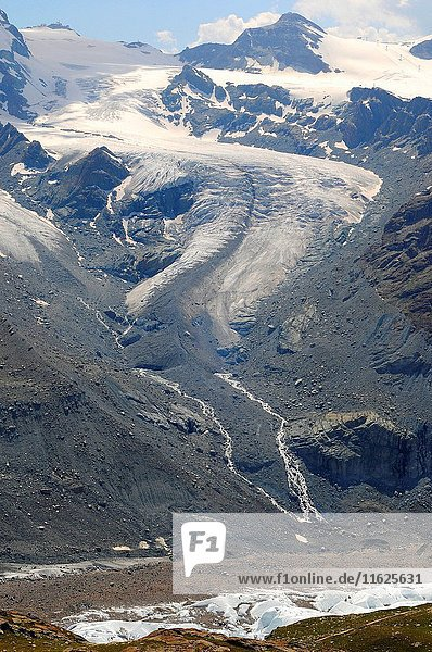 Gornergrat glacier with main and secondary glaciers  cirques  hanging valleys  aretes  horns  crevases and moraines. Alps  Switzerland.