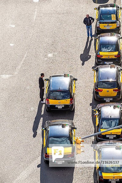 Aerial view of a serie of taxis in Barcelona Catalonia Spain.