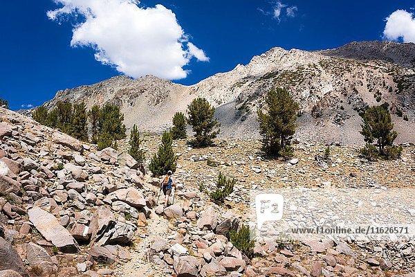 Hiker on the upper Big Pine Lakes Trail  John Muir Wilderness  Sierra Nevada Mountains  California USA.