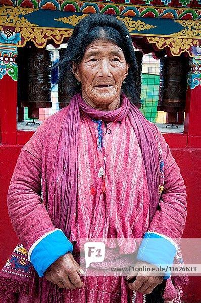 Monpa woman of the Tawang Valley  NE India  visiting town to celebrate the visit of an eminent Tibetan Lama  the 17th Karmapa Lama.