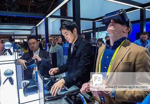 Virtual reality demonstration at The Samsung booth at the CES show in Las Vegas   CES is the world's leading consumer-electronics show.