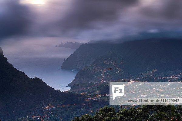 North Coast of Madeira seen from Pico Das Pedras  Eiras  Madeira  Portugal.