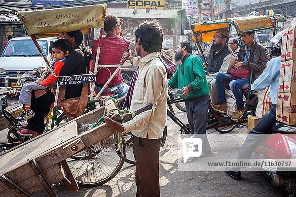 Traffic  in Chandni Chowk  Old Delhi  India.