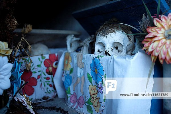 Bones are displayed in the Mayan village of Pomuch  Hecelchakan  Campeche  Yucatán península  October 30  2016  as part of Day of the Dead celebrations in Mexico City  a Catholic celebration that honors the deceased. Pomuch is the only village in Mexico the neighboors clean the bones of their families.