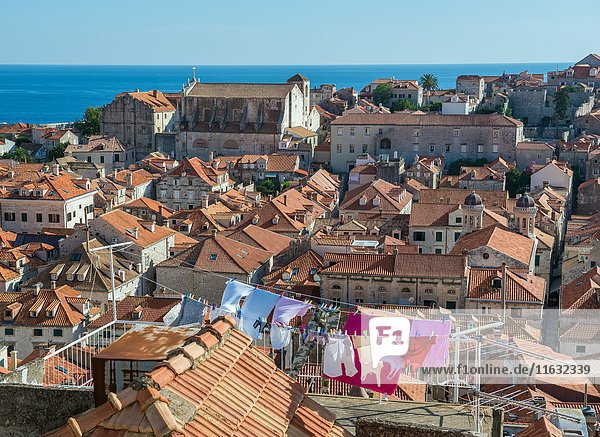 View from defensive Walls of Dubrovnik on the Old Town of Dubrovnik city  Croatia.