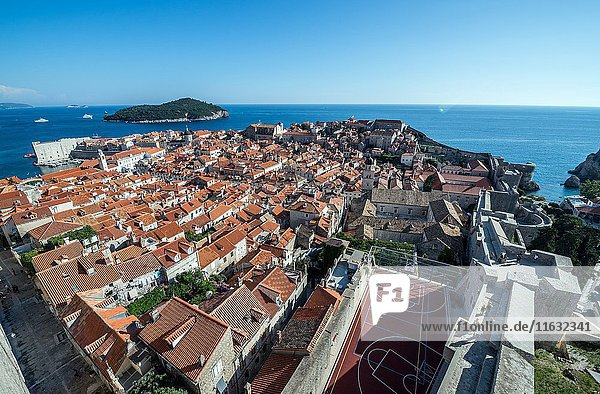 Aerial view from defensive Walls of Dubrovnik on the Old Town of Dubrovnik city  Croatia. Lokrum on background.