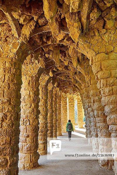 Park Guell by Antoni Gaudi  Barcelona  Catalonia  Spain.